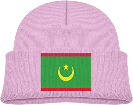 yu jie Kids Funny Mauritania Flag Beanie Hats Warm Adjustable Caps for Boys and Girls