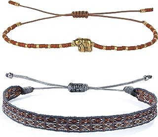 KELITCH 2 Pezzi/Set Braccialetti di Filo Fatti a Mano Impilabili Braccialetti di Perle Colorate Miyuki Gioielli di Moda