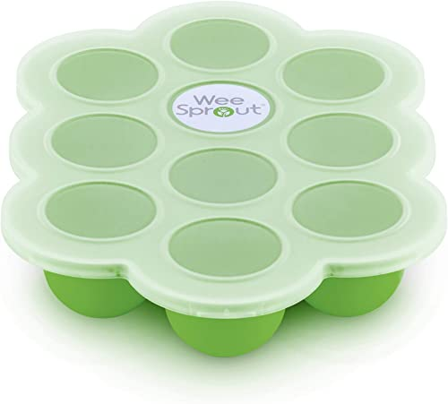 WeeSprout Silicone Baby Food Freezer Tray with Clip-on Lid by WeeSprout - Perfect Storage Container for Homemade Baby...