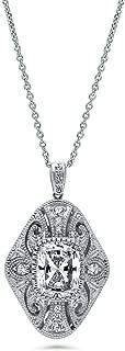 BERRICLE Rhodium Plated Sterling Silver Cubic Zirconia CZ Art Deco Filigree Milgrain Wedding Pendant Necklace