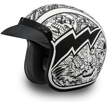 Hi-Gloss Black 100/% DOT Approved Daytona Helmets Motorcycle Open Face Helmet Cruiser