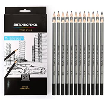 Professional Drawing Sketching Pencils Set, 24 Pieces Art Pencils 14B, 12B, 10B, 9B, 8B, 7B, 6B, 5B, 4B, 3B, 2B, B, HB, F, H - 9H, Graphite Shading Pencils for Beginners & Pro Artists