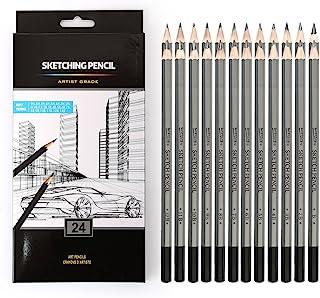 24 مجموعه مدادهای رسم ، مدادهای طراحی بکر 14B ، 12B ، 10B ، 9B ، 8B ، 7B ، 6B ، 5B ، 4B ، 3B ، 2B ، B ، HB ، F ، H - 9H ، مدادهای گرافیت سایه دار برای بزرگسالان و کودکان