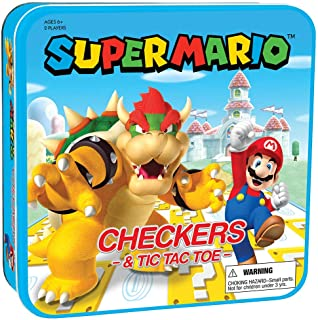USAOPOLY Super Mario Checkers & Tic-Tac-Toe Collector's Game Set | Featuring Mario & Bowser | Collectible Checkers and Tic...