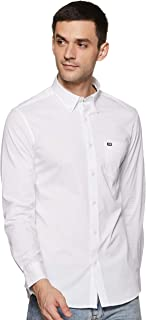 Arrow White Button Down Collar Solid Shirt