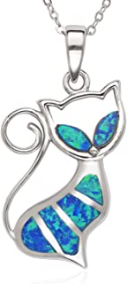 Sterling Silver/Rose Gold Plated Created Blue or White Opal Cat 18