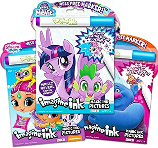 Bundle of 3 Imagine Ink Magic Pictures Activity Books - My Little Pony: The Movie, Shimmer and Shine, and Trolls