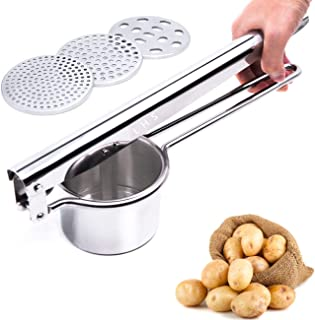 Stainless Steel Potato Ricer Masher with Good Grip Handle and 3 Interchangeable Discs for Fine Medium and Coarse Easy To Use for Potatoes Fruits Vegetables Baby Food and More
