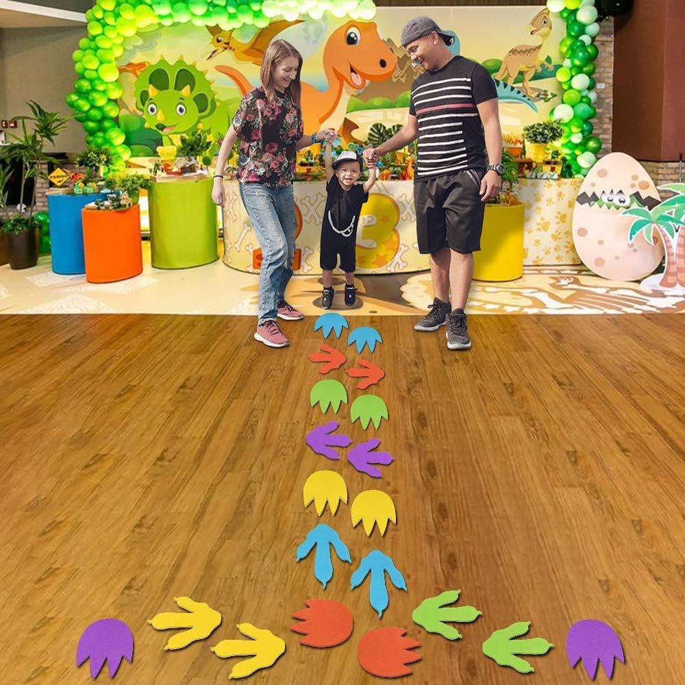 20Pcs Dinosaur and Monster Footprint Hop Floor Decal,Colorful Dinosaur Cutouts Monster Footprint Accents,Removable Dinosaur Tracks Decal Stickers for Kids Dinosaur Party Decoration,School Playroom etc