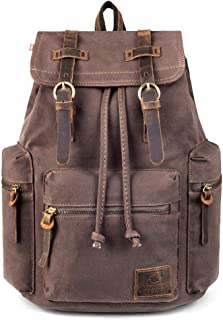 P.KU.VDSL Canvas Backpack, AUGUR Series Vintage Leather Rucksack, 17'' Laptop Backpack, Military Satchel Backpack for Men Women Traveling Hiking