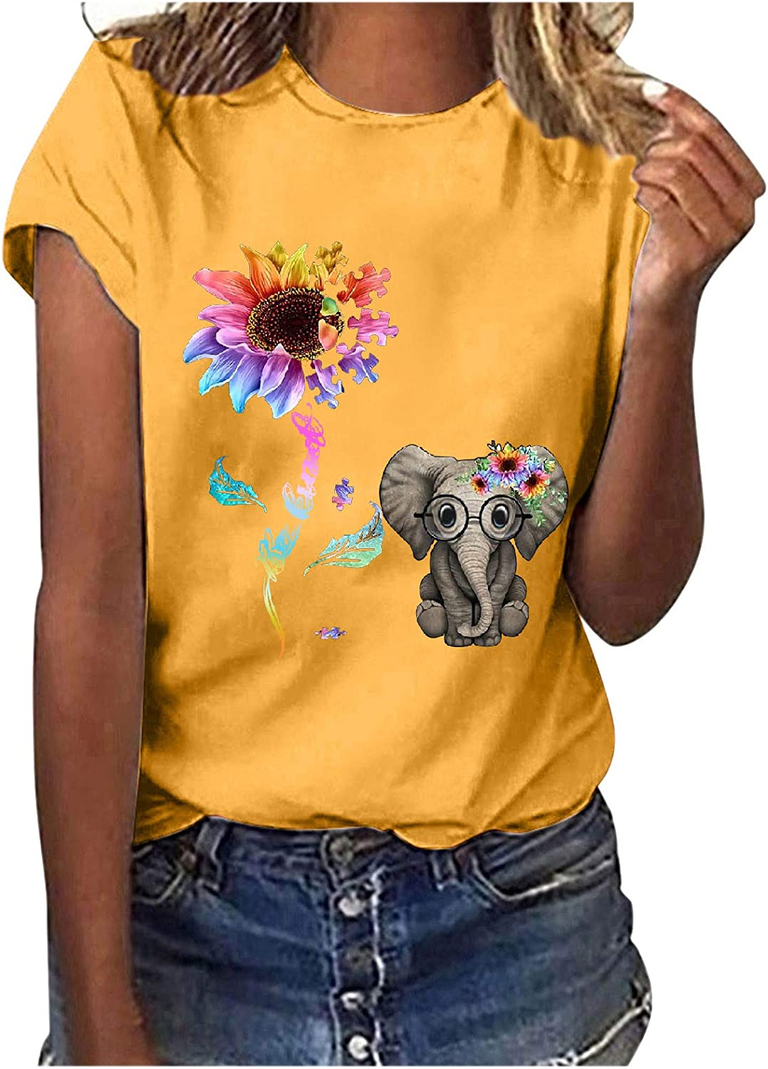 T Shirts for Women, Womens Summer Casual Printed O Neck Short Sleeves Loose Fit Shirt Tops Tunic Blouse Tee Tops