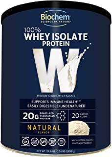 Biochem 100% Whey Isolate Protein - Natural Flavor - 24.6 oz - Pre & Post Workout - Meal Replacement - Keto-Friendly - 20g...