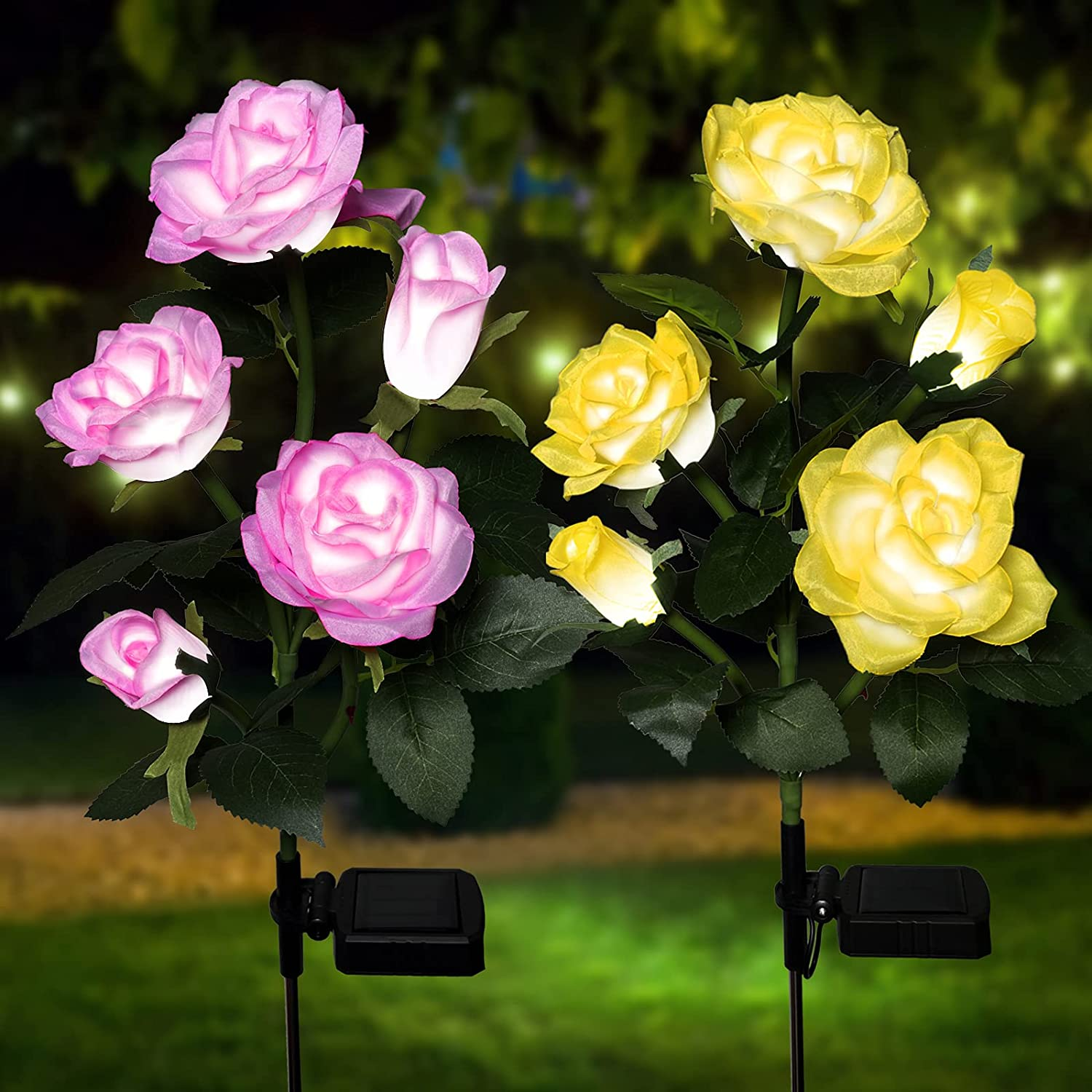 AMZQUE Max 73% OFF Solar Lights Outdoor Decorative Max 75% OFF Packs 2 Garden Lig