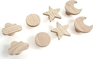 4 stuks meubelgrepen voor kinderkamer van onbehandeld eikenhout in zonmotief, knop, commode voor kast, lade, kinderkamer, ...