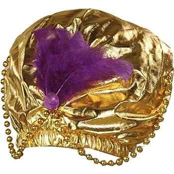 "Forum Novelties - Gold Turban with Beads,12"" X 18"", Fits Standard Adult Head"