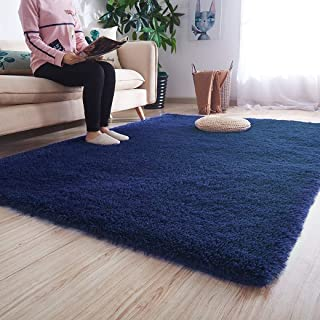 Noahas Ultra Soft Shaggy Area Rugs Fluffy Living Room Carpet Bedroom Fur Rug Anti-Skid Child Playing Mat Home Decor, 5.3 x 7.5 Feets Indigo