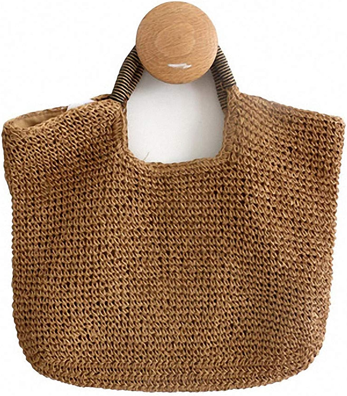 Nyusdar New Hot Rattan Bags Bohemia 100% Handmade Straw Handbags Millettia Handle Knitted Summer Tote Wicker Bags
