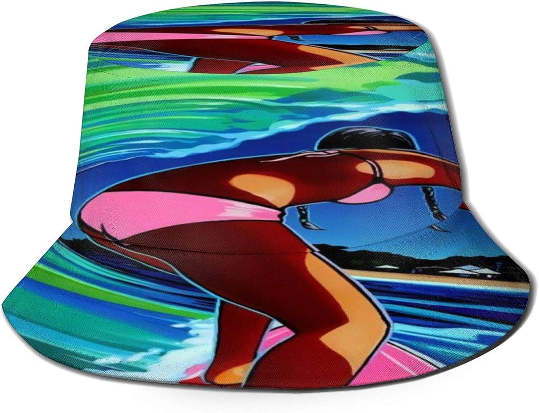 Surf Tropical Art Bucket Hat Unisex Sun Hat Summer Packable Fisherman Hats Black