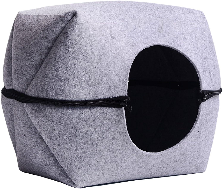 AYCC Felt Nest Cat Litter, Semiclosed, Summer Square Cat Head, Detachable, Cat Litter, Kennel, Pet Supplies, Four Seasons Universal,S
