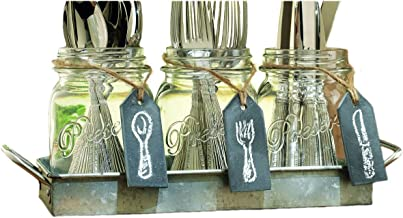 Three (3) Clear Glass Mason Jars with Hanging Chalkboards on Galvanized Tray with Handles ~ Flatware Caddy Organizer Set for Home & Parties