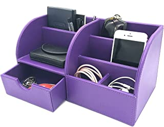 UnionBasic Office Desk Organizer - Multifunctional PU Leather Desktop Storage Box - Business Card/Pen/Pencil/Mobile Phone/Stationery Holder (Purple)