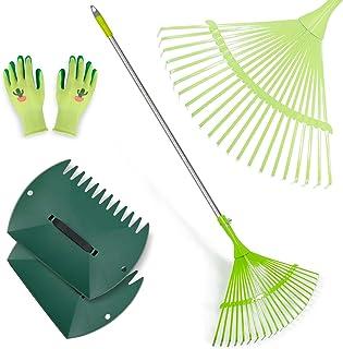 Hortem 3PCS Garden Rakes Adjustable, 24-Teeth Yard Leaf Rake and Lightweight Leaf Scoops, Ideal Rake Set for Camping, Gard...