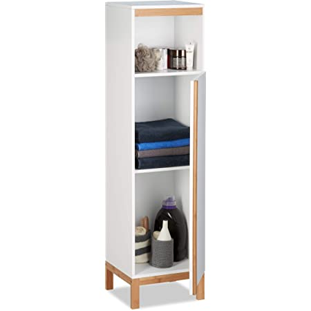 Relaxdays, Blanco, 119 x 32 x 30 cm Armario para baño de pie, Estrecho, Tres estantes, Bambú y MDF, marrón