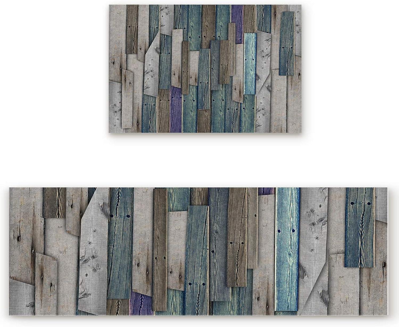 KAROLA 2 Piece Kitchen Mat Non-Slip Doormat Bathroom Runner Rug Set - Rustic Wood Plank 19.7 x31.5 +19.7 x63