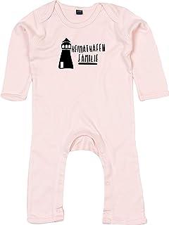 Kleckerliese Baby Strampler Schlafanzug Overall Sprüche Jungen Mädchen Motiv Heimathafen Familie Leuchtturm