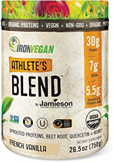 Iron Vegan by Jamieson Athlete's Blend Powder – French Vanilla – Organic Plant-Based Protein Powder; Low Net Carbs; Keto-F...
