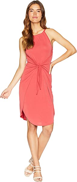 Halter Neckline Tie Front Knit Dress