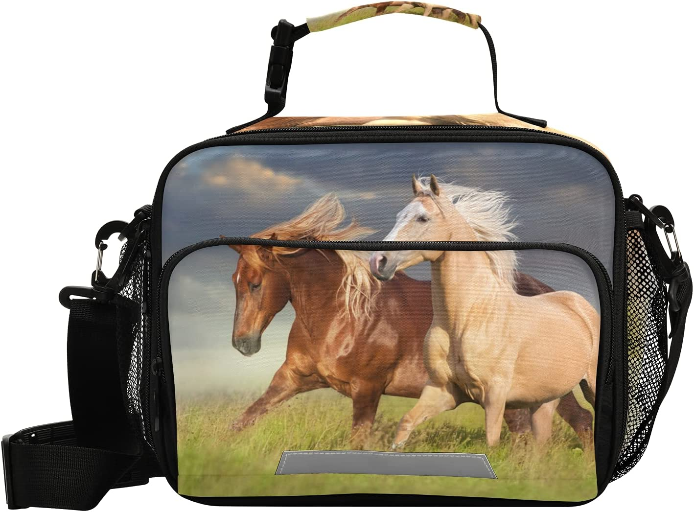 Lunch Bags Boxes Insulated Small Girls Cooler Kids Boys Thermal Red And Palomino Horse for School Student with Shoulder Strap Water-Resistant