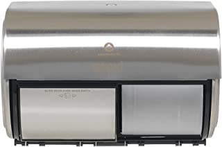 """Compact 2-Roll Side-by-Side Coreless High-Capacity Toilet Paper Dispenser by GP PRO (Georgia-Pacific), Stainless, 56798, 10.120"""" W x 6.750"""" D x 7.120"""" H"""