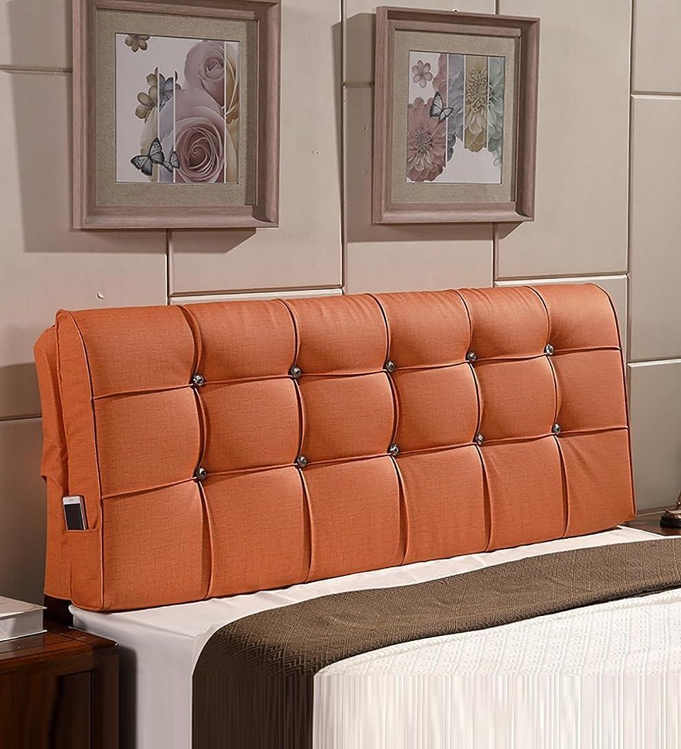 テント二年生へこみLPD- ベッド背もたれ ヨーロッパ人 ヘッドボード クッション 枕 スポンジ 充填 ために シングル、 スーパーキング サイズ (色 : オレンジ, サイズ さいず : 200x12x58cm)