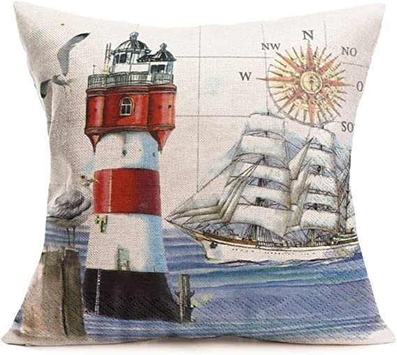 Seagull /& Inspirational Saying 100/% Cotton Fabric Sold BTY Pillow... Lighthouse