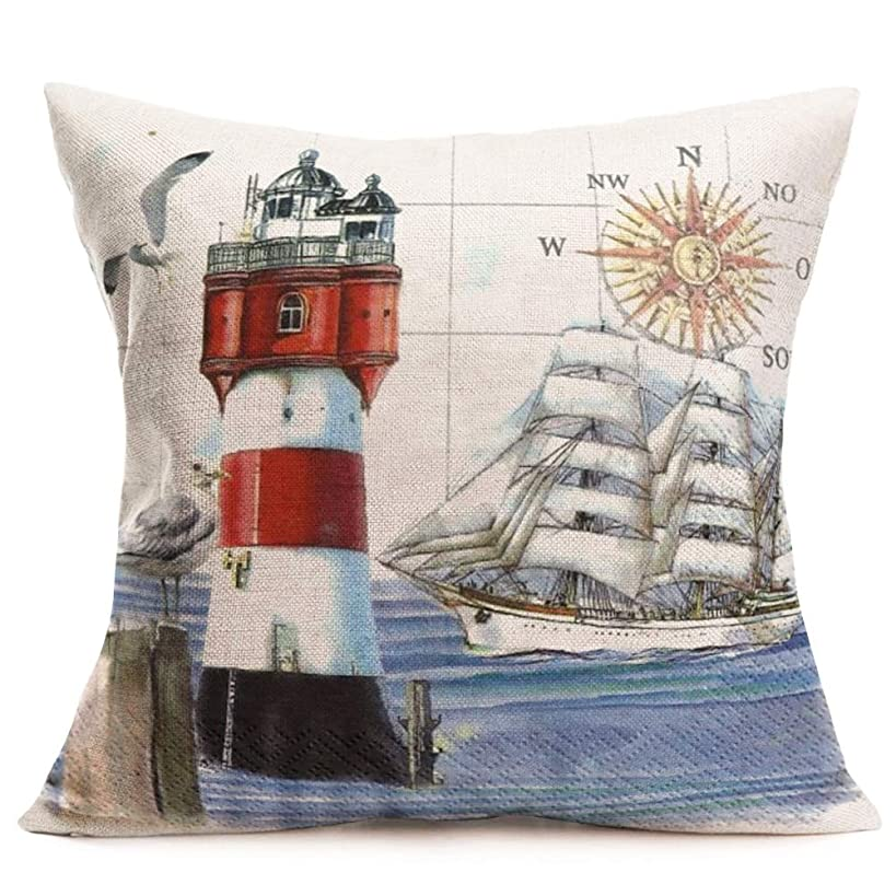 Asminifor Ocean Series Background Compass Lighthouse Geography Decorative Throw Pillow Case Cushion Cover 18