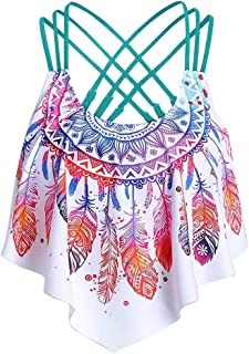Women Overlay Flounce Crisscross Tankini, Ladies Feather Print Strappy Padded Swim Top