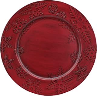 Charge It By Danny Hand Painted & Crafted Antique Finish Red Snowflakes Round Charger Plates Premium Quality, 12 PACK (RED SNOWFLAKE 12 PACK)