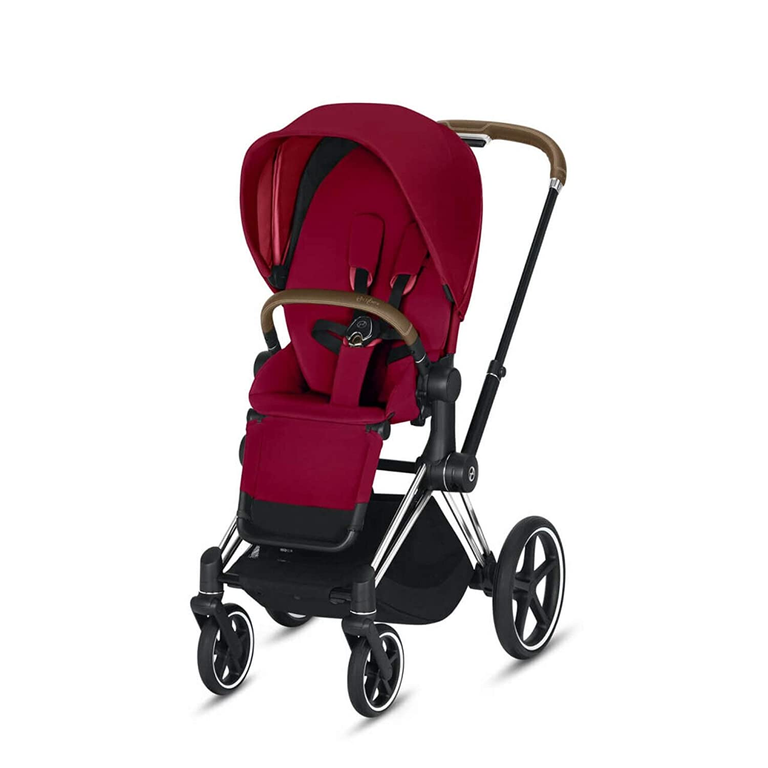 Cybex Priam 3 Complete Stroller, One-Hand Compact Fold, Reversible Seat, Smooth Ride All-Wheel Suspension, Extra Storage, Adjustable Leg Rest, in True Red Seat with Chrome/Brown Frame