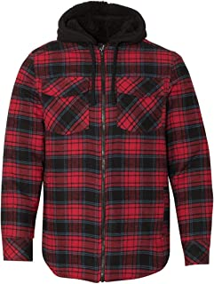 Men's 8620 Plaid Quilted Lined Flannel Full-Zip Hooded Jacket
