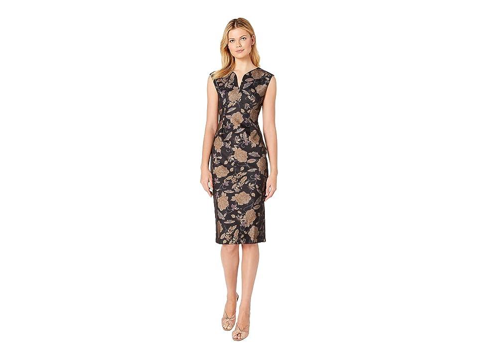 eci Cap Shoulder Floral Printed Dress (Black/Beige) Women