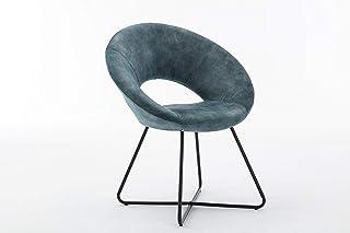 Duhome Silla de Comedor diseño Vintage con Brazos Silla tapizada sillón con Patas de Metallo 439D Vintage, Color:Azul, Material:Terciopelo Vintage