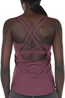 icyzone Workout Tank Tops Built in Bra - Women's Strappy Athletic Yoga Tops, Running Exercise Gym Shirts