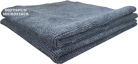SOFTSPUN Microfiber Cloth - 2 pcs - 40x40 cms - 340 GSM Grey - Thick Lint & Streak-Free Multipurpose Cloths - Automotive Microfibre Towels for Car Bike Cleaning Polishing Washing & Detailing