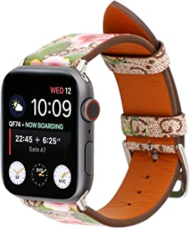 Luxury Leather Watch Band Strap Elegant Blooms Print Wristband Dressy Bracelet Compatible with 40mm 38mm Apple Watch Series 4/3/2/1 (Khaki/Pink)