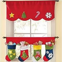 Christmas Curtain,Aniwon 2PCS Red Set Christmas Decorative Window Valances for Christmas Home Kitchen Decoration