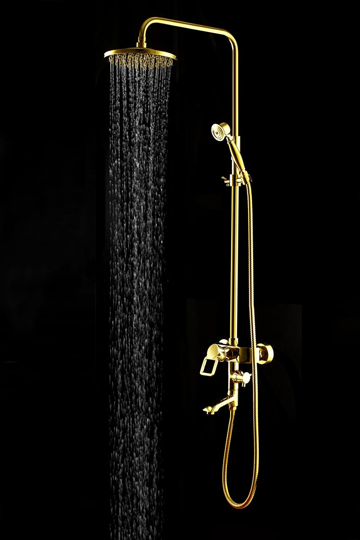 ZHFC-Sanitrkeramik die dusche Kupfer - Gold Bad dusche 3 Anzug tap kaltes und warmes Wasser mischen ventil