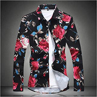 ALIYOUR Men's Fashion Boutique Cotton Printed Casual Long Sleeve Shirts Mens Satin Flower Leisure Shirts Large Size