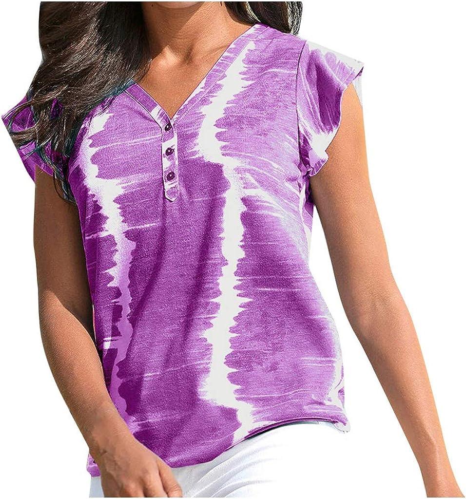 Linen Shirts for Women Tie-Dye Max 52% OFF Summer Short T Ruffle Sleeve Las Vegas Mall Tops