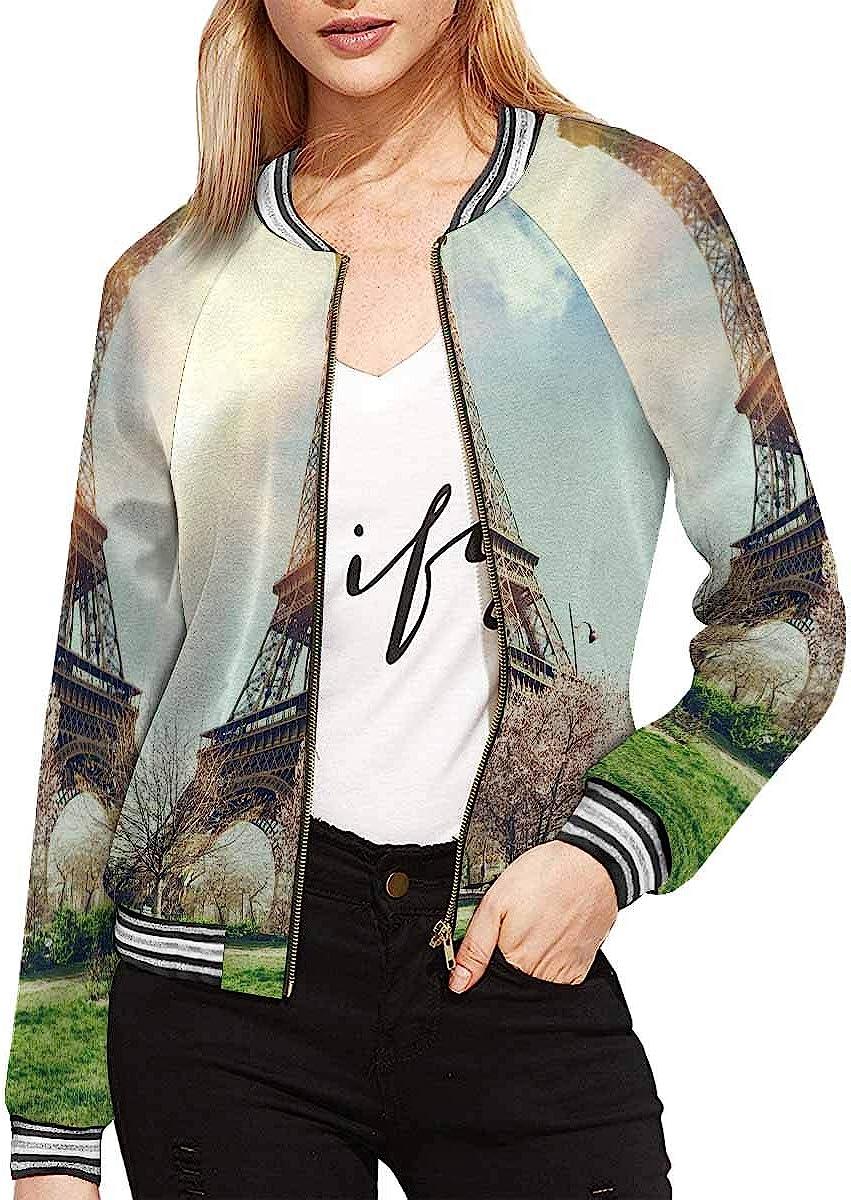 InterestPrint Women's Giraffes and Dead Tree Jacket Zipper Coat Outwear